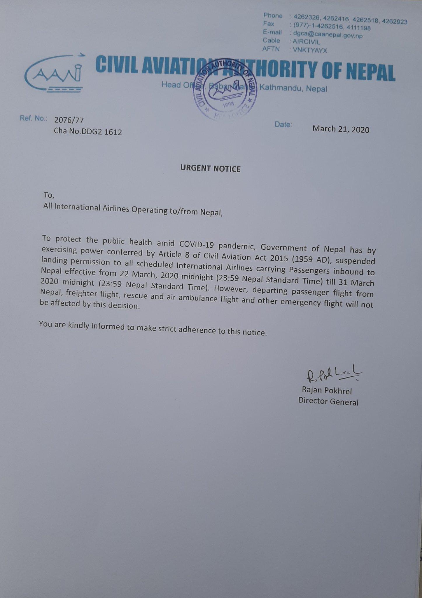 Urgent Notice(21-03-2020)
